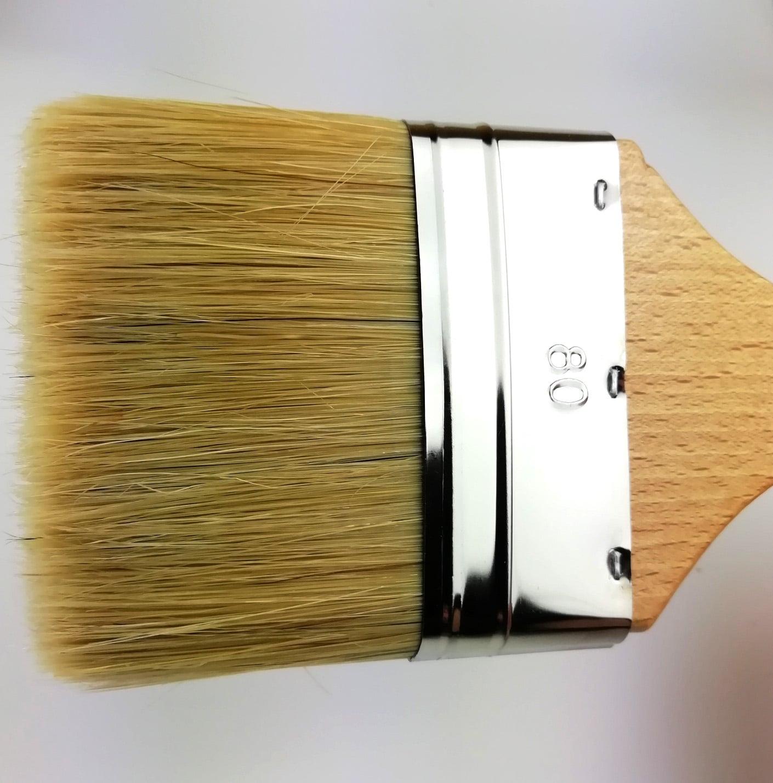 pinceau plat 80mm manche hêtre vernis